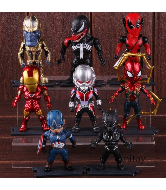 Pack 8 figuras marvel Iron Man, Spiderman, Capitán América, Deadpool, Thanos, Ant Man, Venom y black panther